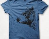 Mens Tshirt, Bear Shirt, Black Bear, Bear Tshirt, Screenprinted Shirt, Graphic Tee - Royal