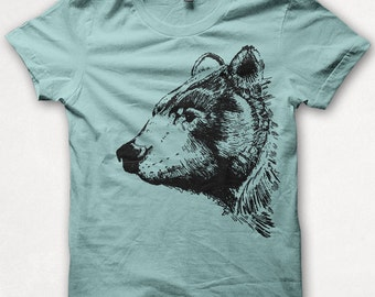 Womens Tshirt, Graphic Tee, Black Bear, Bear Shirt, Forest and Fin, Screenprint T - Aqua