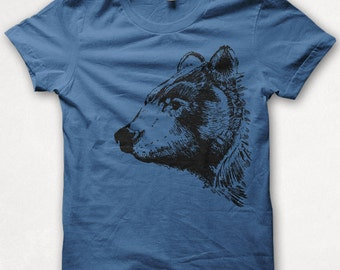 Mens Tshirt, Bear Shirt, Black Bear, Bear Tshirt, Screenprinted Shirt, Graphic Tee - Royal