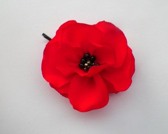 Priority Mail 1 to 4 Days, Beautiful Emboidered Red Poppy Bobby Pin for Her, or Buttonholes for Man, Groom Boutonniere