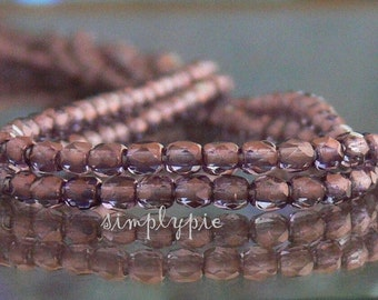 PURPLE PATINA .. Czech Beads, Fire-Polished 3mm 50 Faceted Round Glass