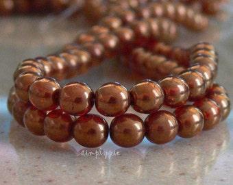 Maple Sunset Czech Round Glass Beads 6mm Druk 25