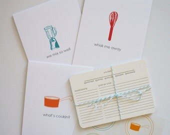 Gift Idea for Cook, Chef, Food Lover, Under 50, Stationery Gift Set: Letterpress Recipe Cards