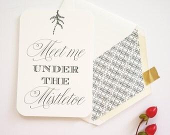 Value Pack of 20 Mistletoe Evergreen Design Christmas Holiday Flat Card