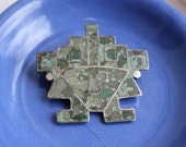 Mexico Sterling Silver 925 Face Brooch Pendant Aztec Crushed Stone Turquoise Mid Century Primitive