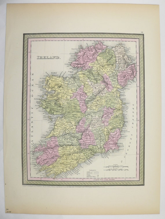 Wedding Gift List Belfast : Ireland Map 1855 Mitchell Map Northern Ireland Republic of