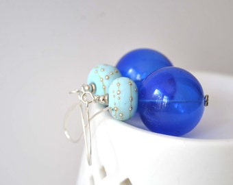 Glass Earrings, Blue Earrings, Hollow Glass Earrings, Everyday Earrings, Long Dangle Earrings