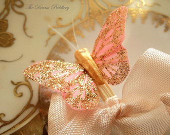 J'adore les Papillons. 12 Glittered Feather Butterfly Toppers, Cupcakes and Appetizers