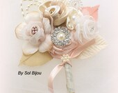 Boutonniere, Brooch, Corsage, Groom, Button Hole, Blush, Champagne, Tan, Gold, Ivory, Pearls, Crystals, Elegant, Vintage Syle