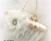 Flower Girl Basket, Ivory, Cream, Tan, Gold, Champagne, Elegant Wedding, Lace Basket, Pearl Handle, Crystals, Round, Vintage Style, Gatsby
