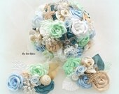 Cake Topper, White, Mint Green, Teal, Blue, Champagne, Brooch, Destination Wedding, Jeweled, Seashell, Cake Decoration, Pearls, Crystals