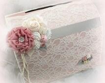 Card Holder, Box, Money, Wedding, Bridal, Birthday, Invitation Box, Ivory, Dusty Rose, Mauve, Gray, Lace, Crystals, Pearls, Elegant, Vintage