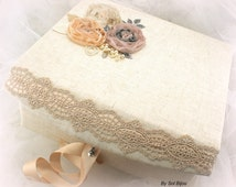 Keepsake Box, Wedding, Girl, Baby, Memory Box, Ivory, Champagne, Tan, Beige, Rose, Charcoal, Gray, Linen, Lace, Pearls, Crystals