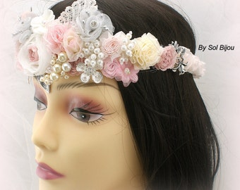 Pink Headband, Bridal Headband, Crown, Fascinator, Halo, Flower Girl, Bridal, Ivory, Gray,Silver, Lace, Pearls, Crystals, Vintage Inspired