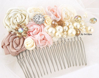 Hair Comb,Vintage Style,Blush, Pink, Champagne, Gold, Ivory, Bridal,Elegant Wedding,Hair Fascinator, Maid of Honor, Crystals, Pearls, Gatsby
