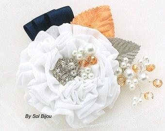 Wedding Hair Clip, White, Orange, Peach, Navy Blue,Gray, Silver, Fascinator, Maid of Honor, Crystals, Pearls, Elegant Wedding, Vintage Style