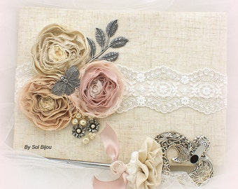 Guest Book, Blush, Ivory, Silver, Tan, Elegant Wedding, Signature Book, Signing Pen, Birthday, Linen, Lace, Crystals, Pearls, Vintage