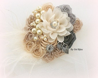 Bridal Hair Clip, Blush,  Pink, Ivory, Champagne, Tan, Charcoal, Pewter, Gray, Rose, Elegant Wedding, Fascinator, Pearls, Feathers, Crystals