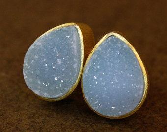 Gold Baby Blue Druzy Studs - Gemstone Posts - Ice Blue