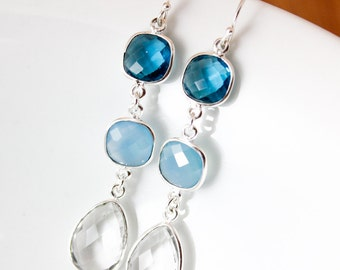 Silver Blue Quartz, Chalcedony, and Crystal Earrings - Something Blue - Bridal Earrings