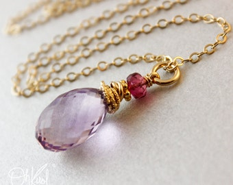 Pink Amethyst Pink Tourmaline Necklace - 14kt Gold Fill - Bridesmaid Gifts