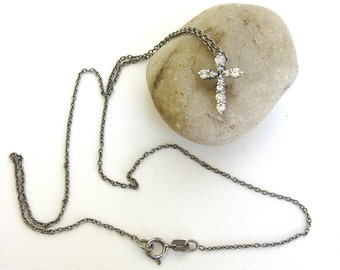 vintage sterling silver and cz necklace   ...    cross   ...