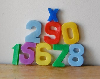 Vintage Toy Numbers Plastic in Multiple Colors Nine Numbers in All Instant Collection.