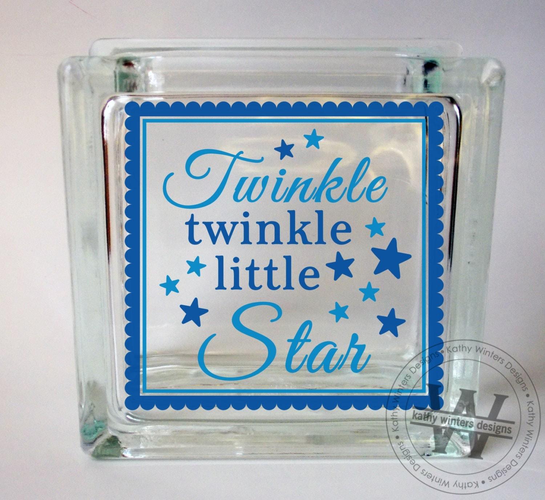 Vinyl lettering glass block decal twinkle by kwintersdesigns