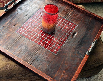 """Very Large Serving Tray. Very Large Ottoman Tray. Mosaic Tile Ottoman Tray. Tile Tray. """"Fire & Ice"""" Mosaic.  30 x 30.  Dark Brown Finish"""