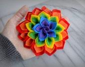Rainbow Felt Flower, Dahlia, Brooch Pin, Hair Accessory, St. Patricks Day