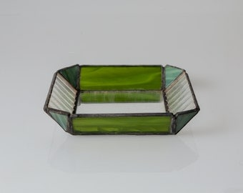 Decorative Glass Tray defferent hues of green