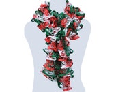 Handmade Ruffle Scarf Red White and Green Neck Warmer Trendy Scarf Long Scarf Womens Fashion by CraftCrazy4U