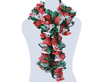 Handmade Ruffle Scarf Red White and Green Neck Warmer Trendy Scarf Long Scarf Womens Fashion Christmas Gift by CraftCrazy4U on Etsy