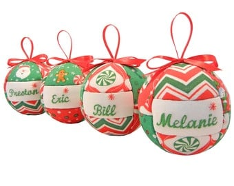 Personalized Christmas Ornaments Handmade SET of FOUR with Single Names for Children or Adults Chevron Fabric Quilted Design by CraftCrazy4U