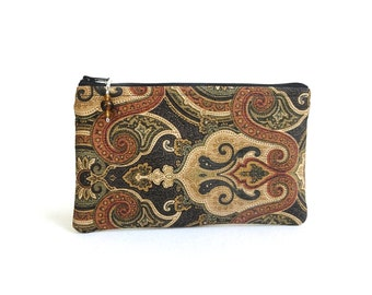 Scrolling Zippered Bag in Black, Brown & Khaki / Beaded Pull - READY TO SHIP