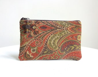 Paisley Zippered Bag in Deep Rose with Beaded Zipper Pull - READY TO SHIP