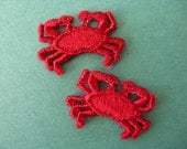 red crab appliqué, 1970's embroidered pair of beach dweller patches new old stock.