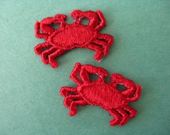 red crab appliqué 1970's embroidered pair of beach dweller patches new old stock crab patch