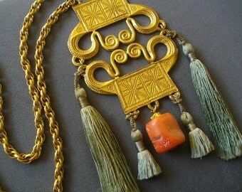 Handmade Necklace Show Stopper Exotic Costume Jewelryilk Tassles And Coral Pendant Free Shipping To The Usa And Canada