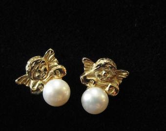 14k Solid Gold Pearl Earrings, Rafael's Angels