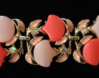 Glowing Pink Lucite and Enamel Bracelet with Rhinestones