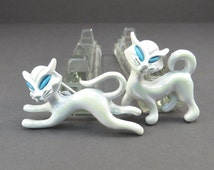 White Cat Broach 1960s Vintage J.J. Jonette Jewelry Pair Figural Cat Brooches
