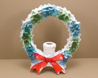 Ceramic Christmas Wreath Vintage 1950s Kitschy Christmas Decoration