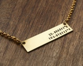 Personalized Coordinates Bar Necklace, Rectangle Coordinates Charm, Rectangle Personalized Necklace, Bar Jewelry, Custom Necklace