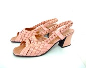 Vintage Shoes Pink Braided Leather Pump Heels Sandals BROADWAY Women Size 8