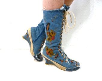 Denim Wedges Boots Flower Embroidered Lace Gladiator Blue Mid Calf Women size 9