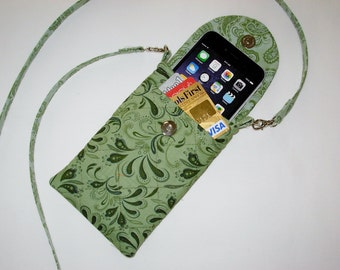 Iphone 6 Smart Phone Gadget Case Detachable Neck Strap Quilted Greens