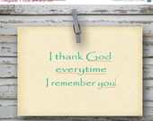 ON SALE 40% off I Thank God - Bible Quote - 4x5.5 folded greeting card - Philippians 1:3