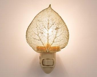 Real Aspen Leaf Dipped In 24k Gold Night Light  - 24k Gold Leaves