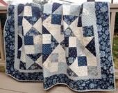 "Made to Order - Throw Quilt Snowbird HANDMADE Patchwork Quilt Laundry Basket Quilts Moda Blue Navy Cream 63x71"""